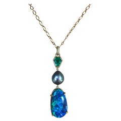 Colombian Emerald, Australian Opal and Sea of Cortez Pearl Pendant Necklace