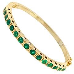 Colombian Emerald Bangle Bracelet 18 Karat
