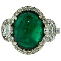 Colombian Emerald Cabochon Cocktail Ring with Diamonds