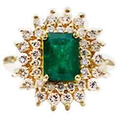 3 Carat Colombian Emerald and Diamond Cocktail Ring