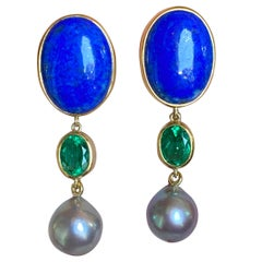 Colombian Emerald, Cortez Pearl and Lapis Gold Earrings