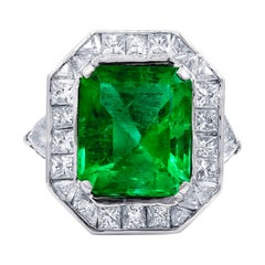 Colombian Emerald Cut Emerald and Diamond Ring