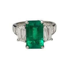 Colombian Emerald-Cut Emerald Platinum with Emerald-Cut & Princess Cut Diamonds