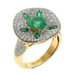 Kolumbianischer Smaragd Diamant 18 Karat Gelb-Gold Ring