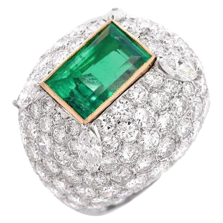 Colombian Emerald Diamond 18 Karat White Gold Dome Cocktail Ring