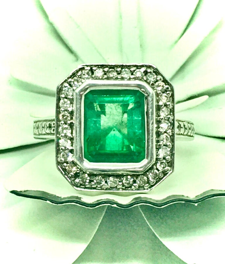 Colombian Emerald Diamond Art Deco Style Engagement Style Ring For Sale 7