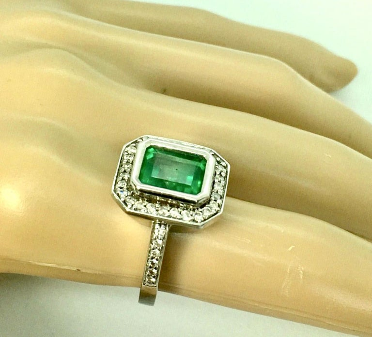 Colombian Emerald Diamond Art Deco Style Engagement Style Ring For Sale 1