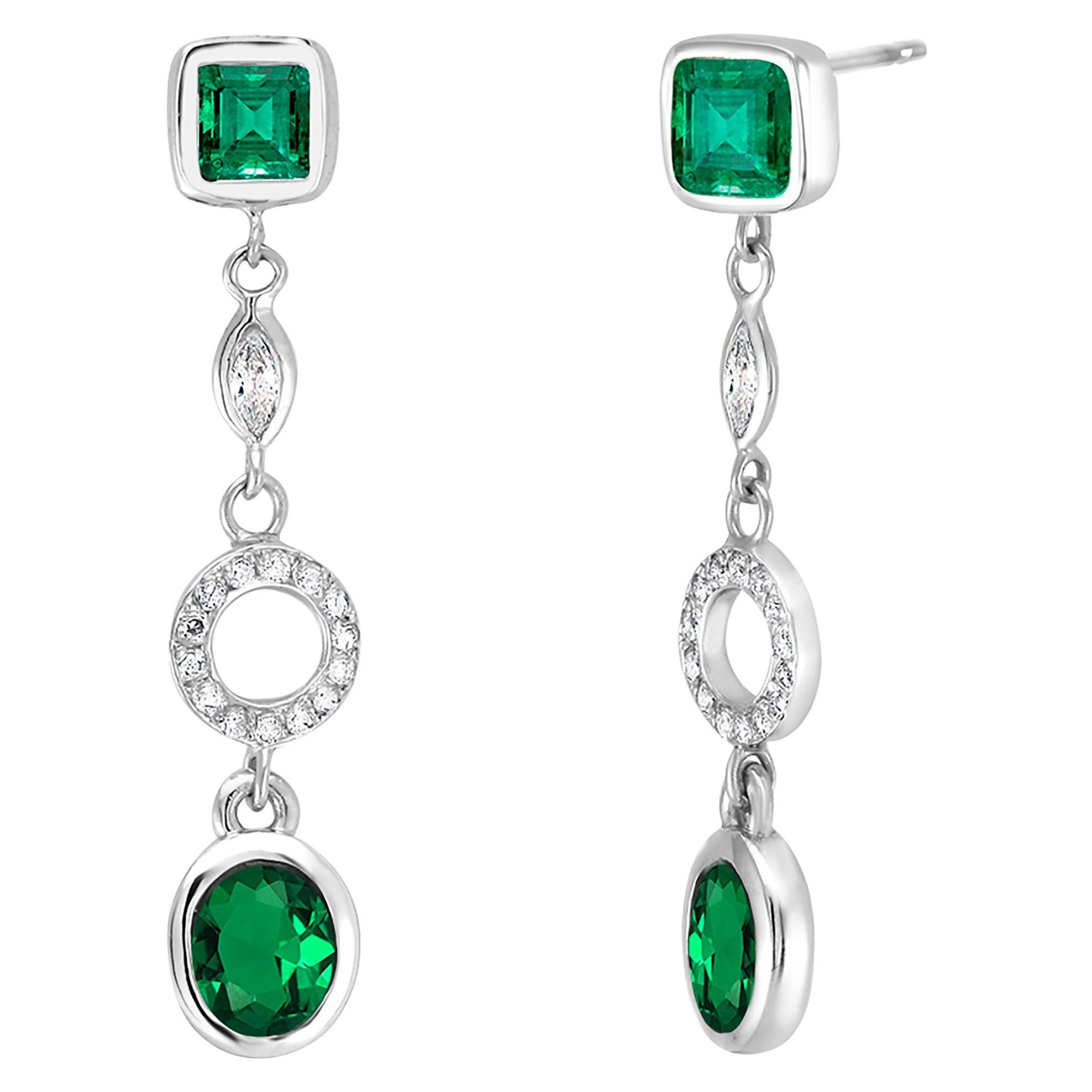 White Gold Emerald Diamond Circle Drop Earrings Weighing 3.10 Carat