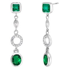 Colombian Emerald Diamond Circle White Gold Earrings Weighing 3.10 Carat