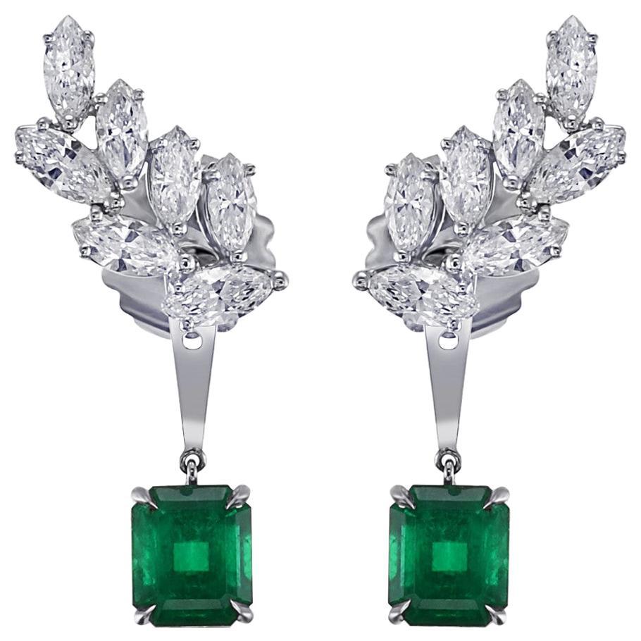 Colombian Emerald Diamond Ear Climber Earrings