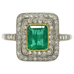 Colombian Emerald Diamond Halo Art Deco Revival Target Platinum Engagement Ring