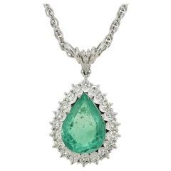 Colombian Emerald Diamond Halo Platinum Pendant, GIA Certified
