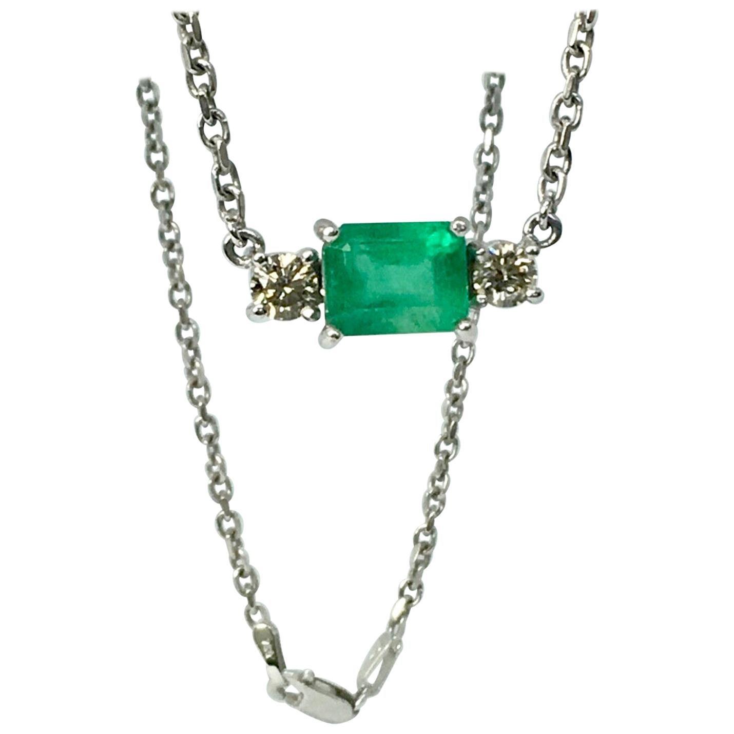 Colombian Emerald Diamond Pendant Necklace 18 Karat