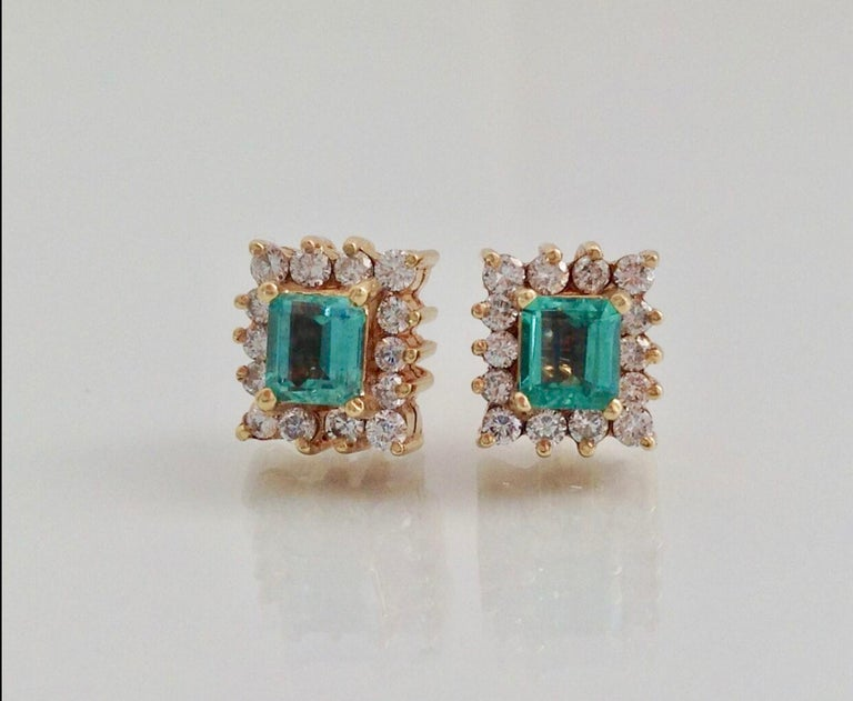 Art Deco Colombian Emerald Diamond Necklace and Earrings Suite 18K For Sale