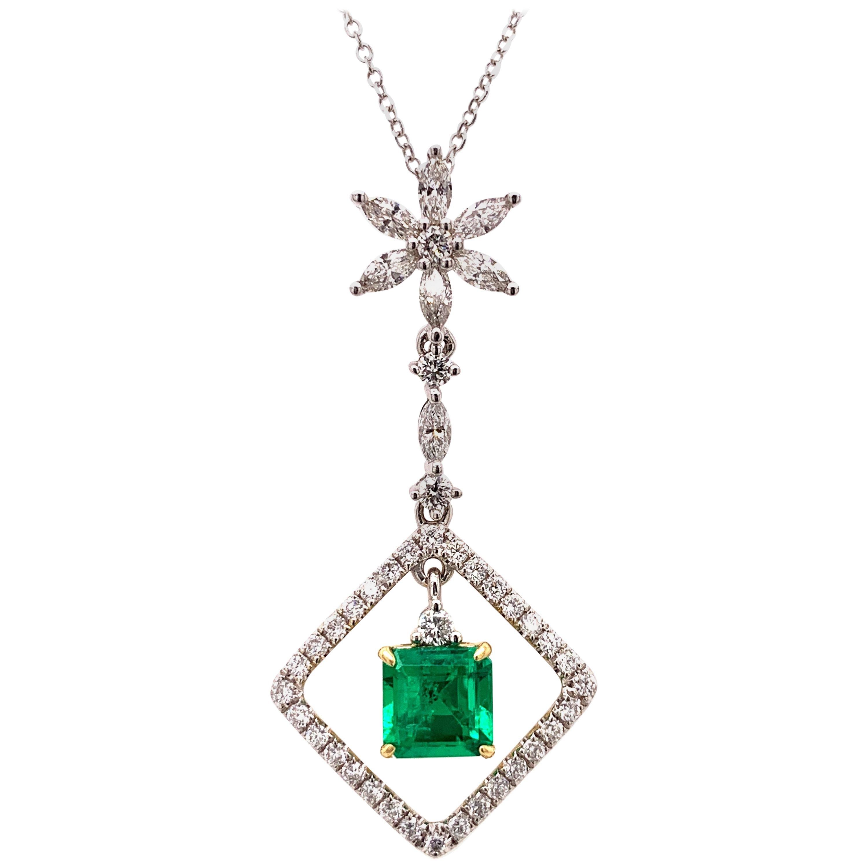 Colombian Emerald Diamond Pendant Necklace