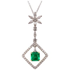 Colombian Emerald Diamond Pendant Necklace