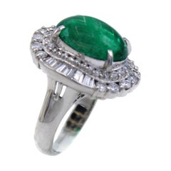 Colombian Emerald Diamond Platinum Ring