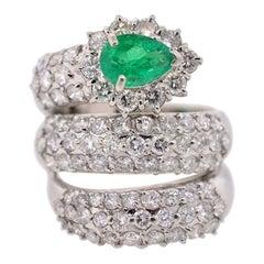 Colombian Emerald & Diamond Platinum Snake Ring