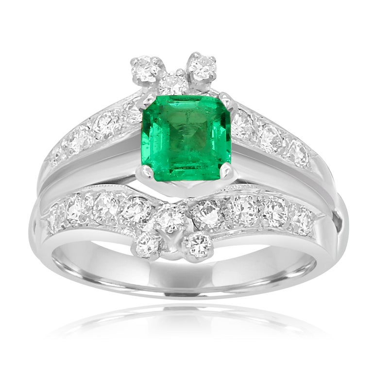 Stunning Colombian Emerald Square 0.76 Carat With White diamond round 1.00 Carat set in platinum  Bridal Ring set.  Center Emerald Weight 0.76 Carat Total  Weight 1.76 Carat