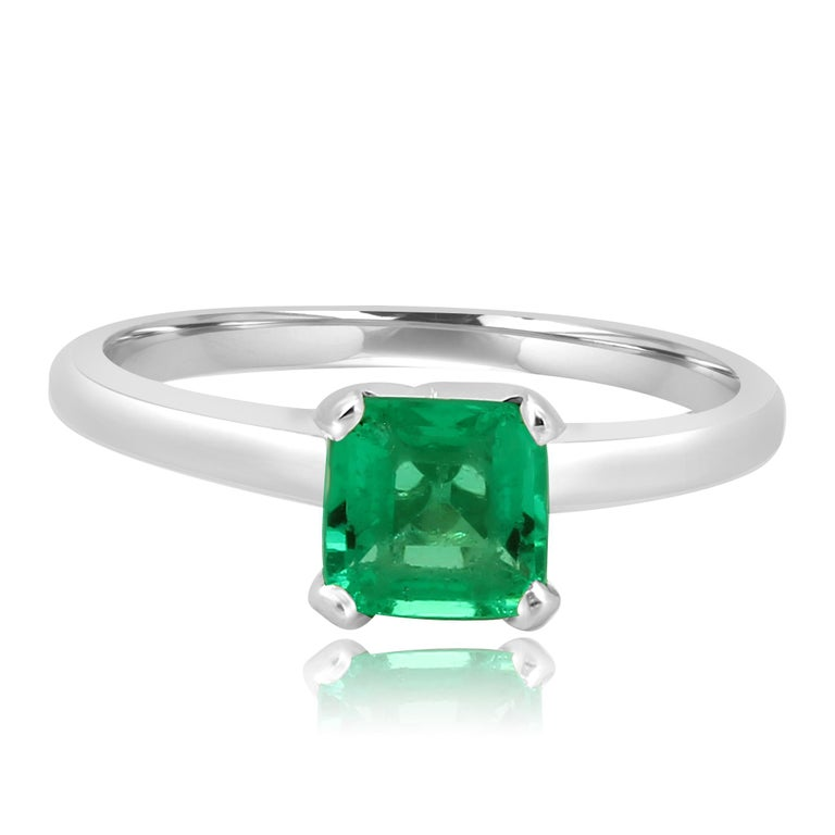 Art Deco Colombian Emerald Diamond Platinum  Wedding Ring Set For Sale