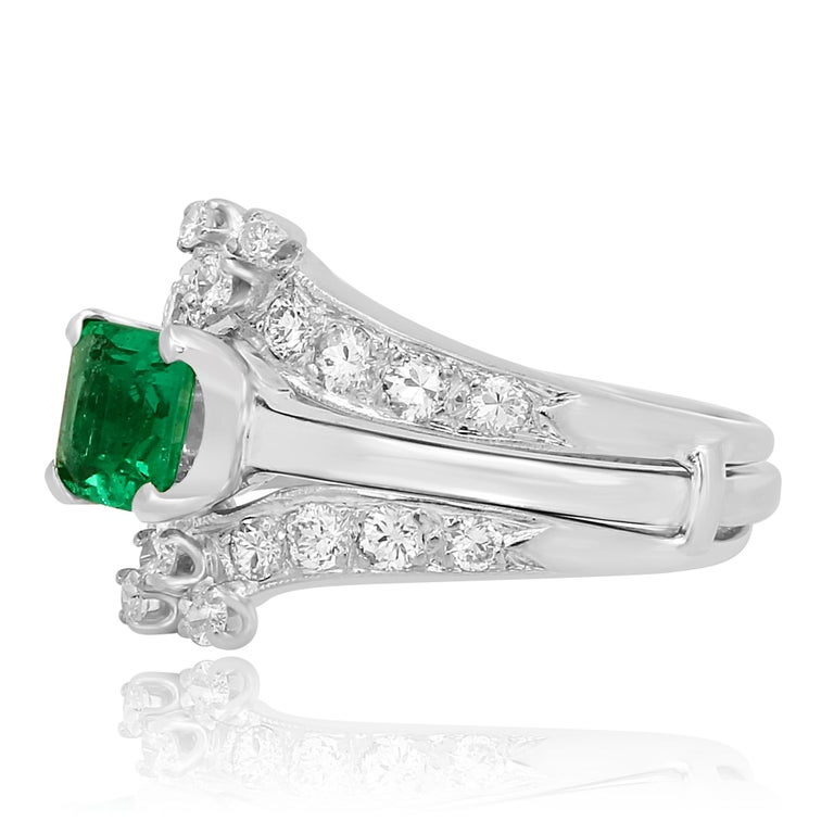 Emerald Cut Colombian Emerald Diamond Platinum  Wedding Ring Set For Sale