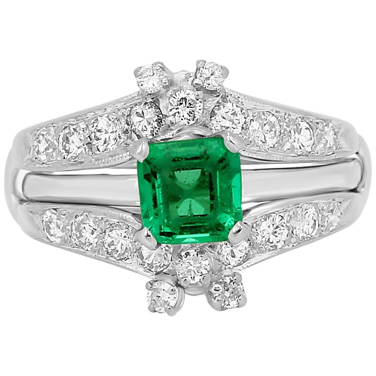 Colombian Emerald Diamond Platinum  Wedding Ring Set For Sale