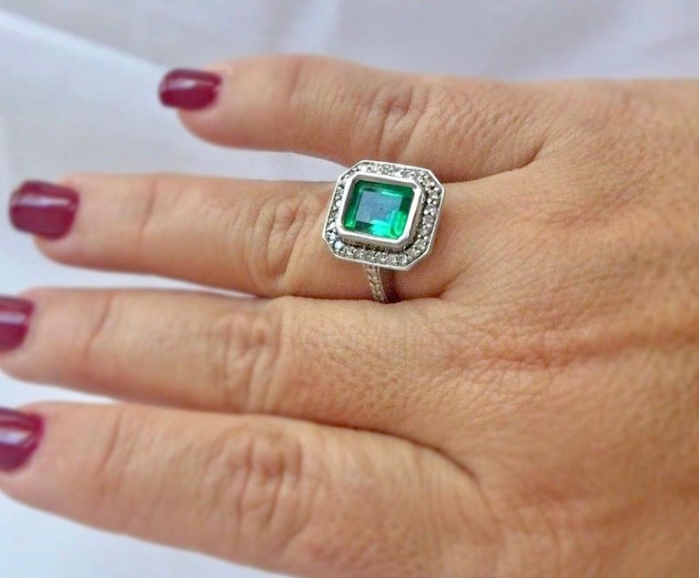 Emerald Cut Colombian Emerald Diamond Art Deco Engagement Style Ring For Sale