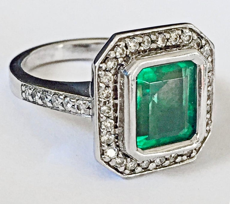 Colombian Emerald Diamond Art Deco Engagement Style Ring For Sale 2