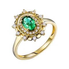 Colombian Emerald Diamond Ring 28k Yellow Gold