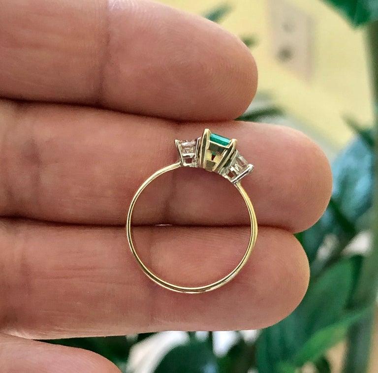 Colombian Emerald Diamond Three-Stone Engagement Ring 18 Karat For Sale 6
