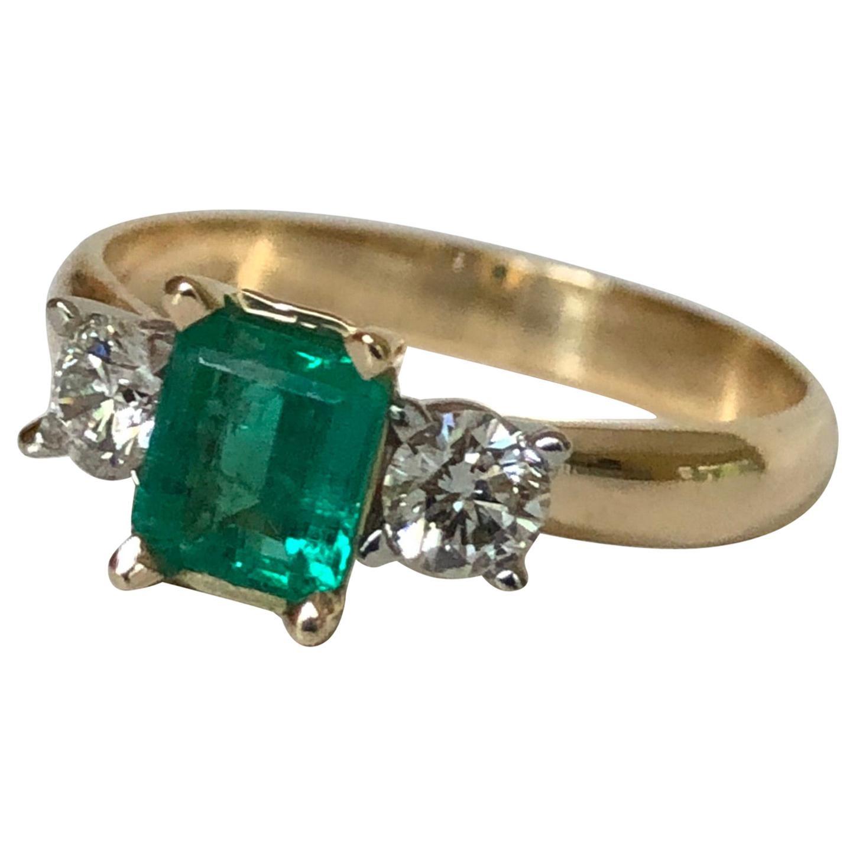Colombian Emerald Diamond Three-Stone Engagement Ring 18 Karat
