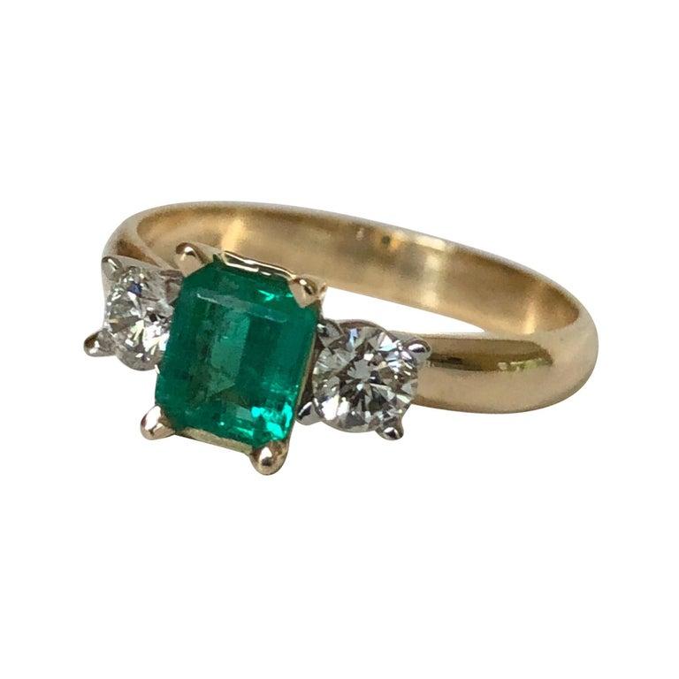 Colombian Emerald Diamond Three-Stone Engagement Ring 18 Karat For Sale