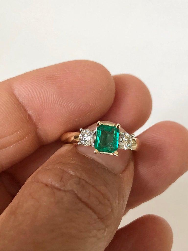 Emerald Cut Colombian Emerald Diamond Three-Stone Engagement Ring 18 Karat For Sale