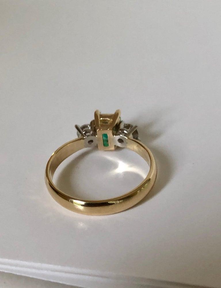 Women's Colombian Emerald Diamond Three-Stone Engagement Ring 18 Karat For Sale