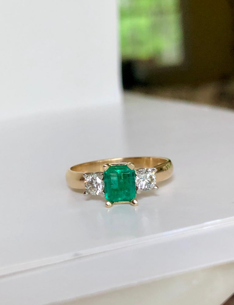 Colombian Emerald Diamond Three-Stone Engagement Ring 18 Karat For Sale 2