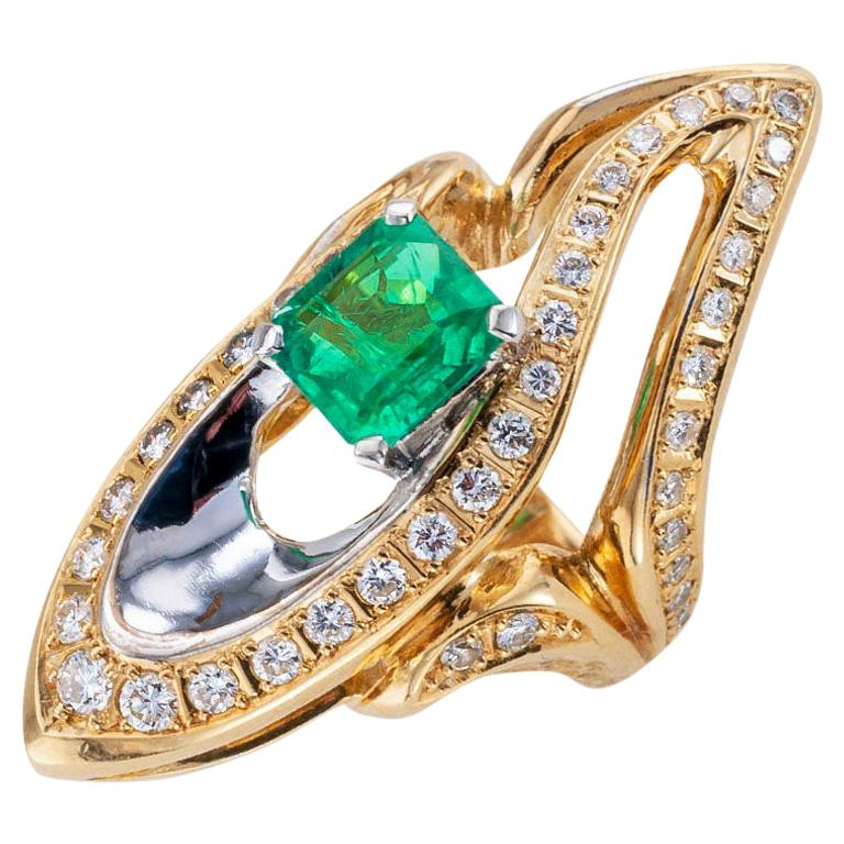 Colombian Emerald Diamond Two-Tone Gold Cocktail Ring