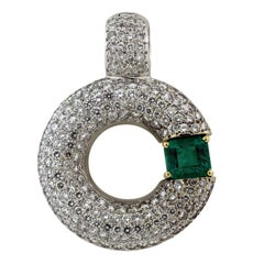 Colombian Emerald Diamond White Gold Enhancer Pendant