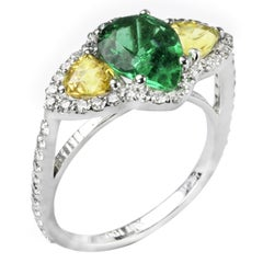 Colombian Emerald Diamond Yellow Sapphire Cluster Ring Weighing 3.36 Carat