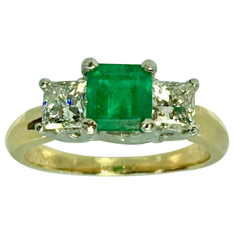 Colombian Emerald and Diamonds Platinum, 18 Karat Three-Stone Engagement Ring