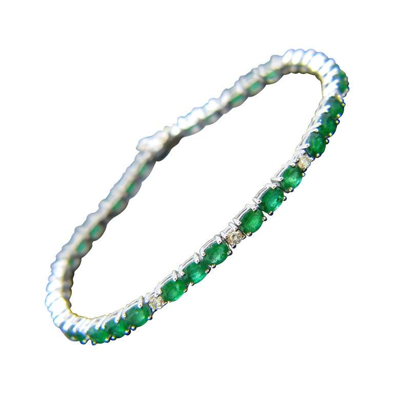 Colombian Emerald Diamonds Tennis Line White Gold Bracelet For Sale