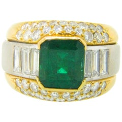 Colombian Emerald Diamonds Yellow and White Gold Cocktail Band Dome Ring