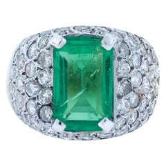 Colombian Emerald and Diamond Ring, Dome Contemporary Ring 4.80 TCW