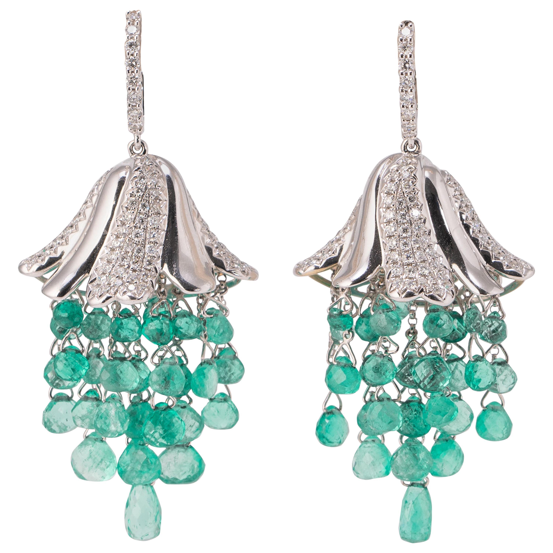 Colombian Emerald Drops and Diamond Chandelier Earrings
