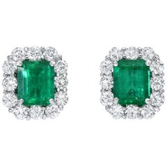 Colombian Emerald Earrings Emerald Cut Studs 2.27 Carat