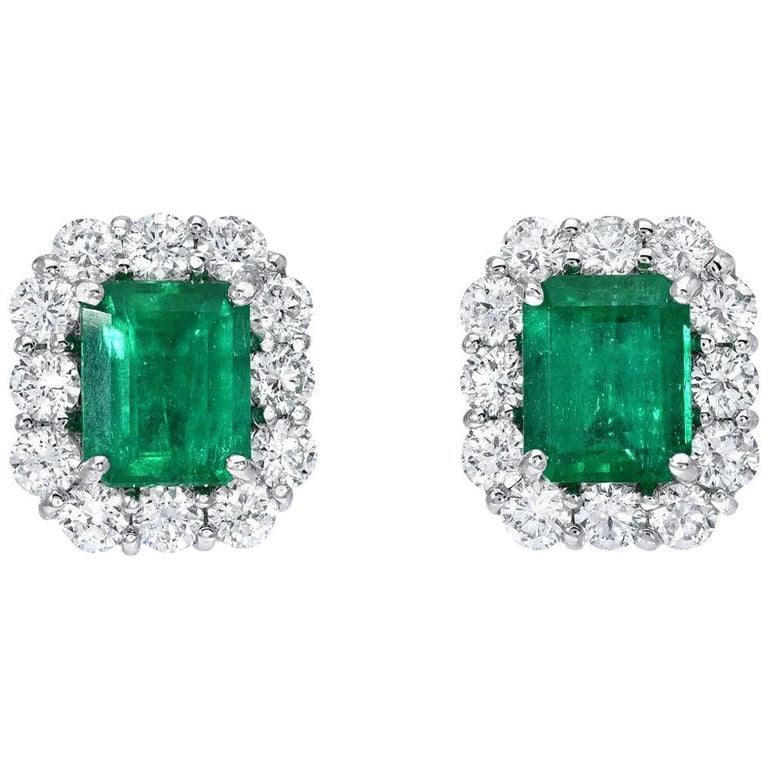 Colombian Emerald Earrings Emerald Cut Studs 2.27 Carat For Sale