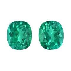 Colombian Emerald Earrings Gemstone Pair 3.11 Carats Cushion Loose Gems