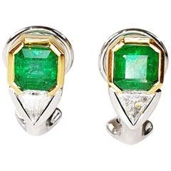 Colombian Emerald Earrings with Trillion-Cut Diamonds in 18 Karat Gold Settings