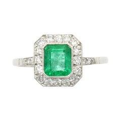 Colombian Emerald Engagement Ring Diamond Halo Octagon Platinum Art Deco Style
