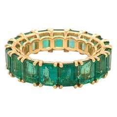 Colombian Emerald Eternity Band 18 Karat Yellow Gold 7.23 Carat