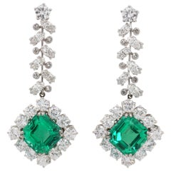 Colombian Emerald 'No/Minor Oil' and Diamond Earring